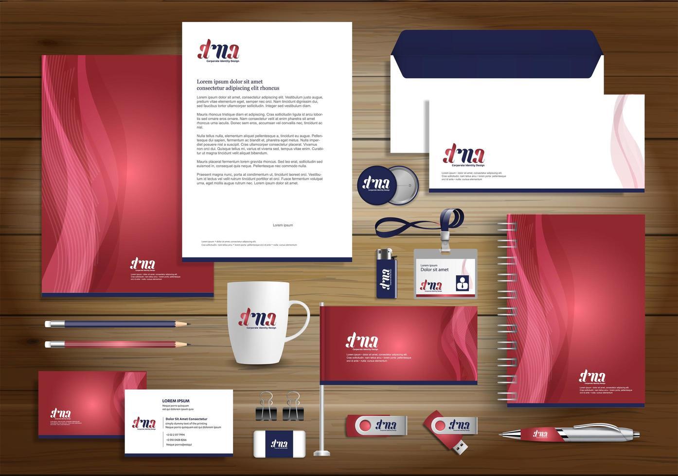 set di identità linea rossa dyanmic e articoli promozionali vettore