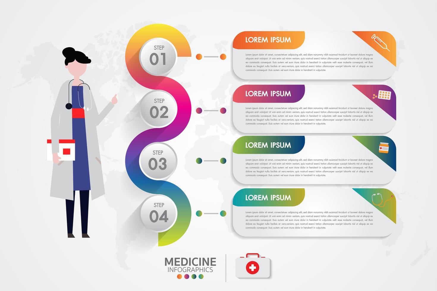 medicina infografica phamacy set con 4 opzioni vettore