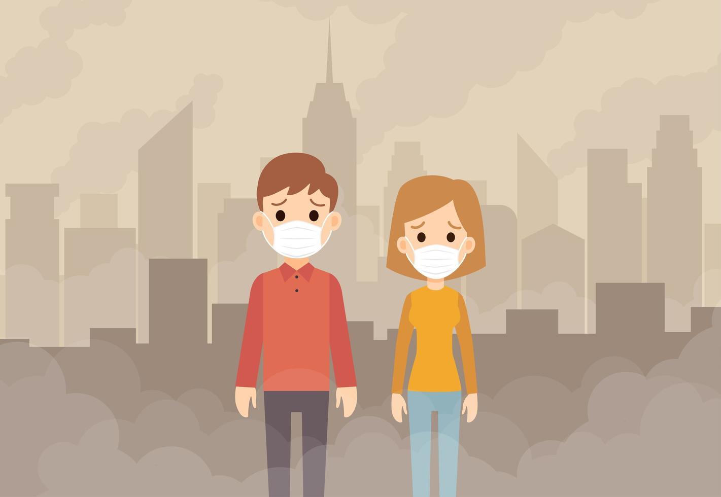 persone che indossano maschere protettive vettore