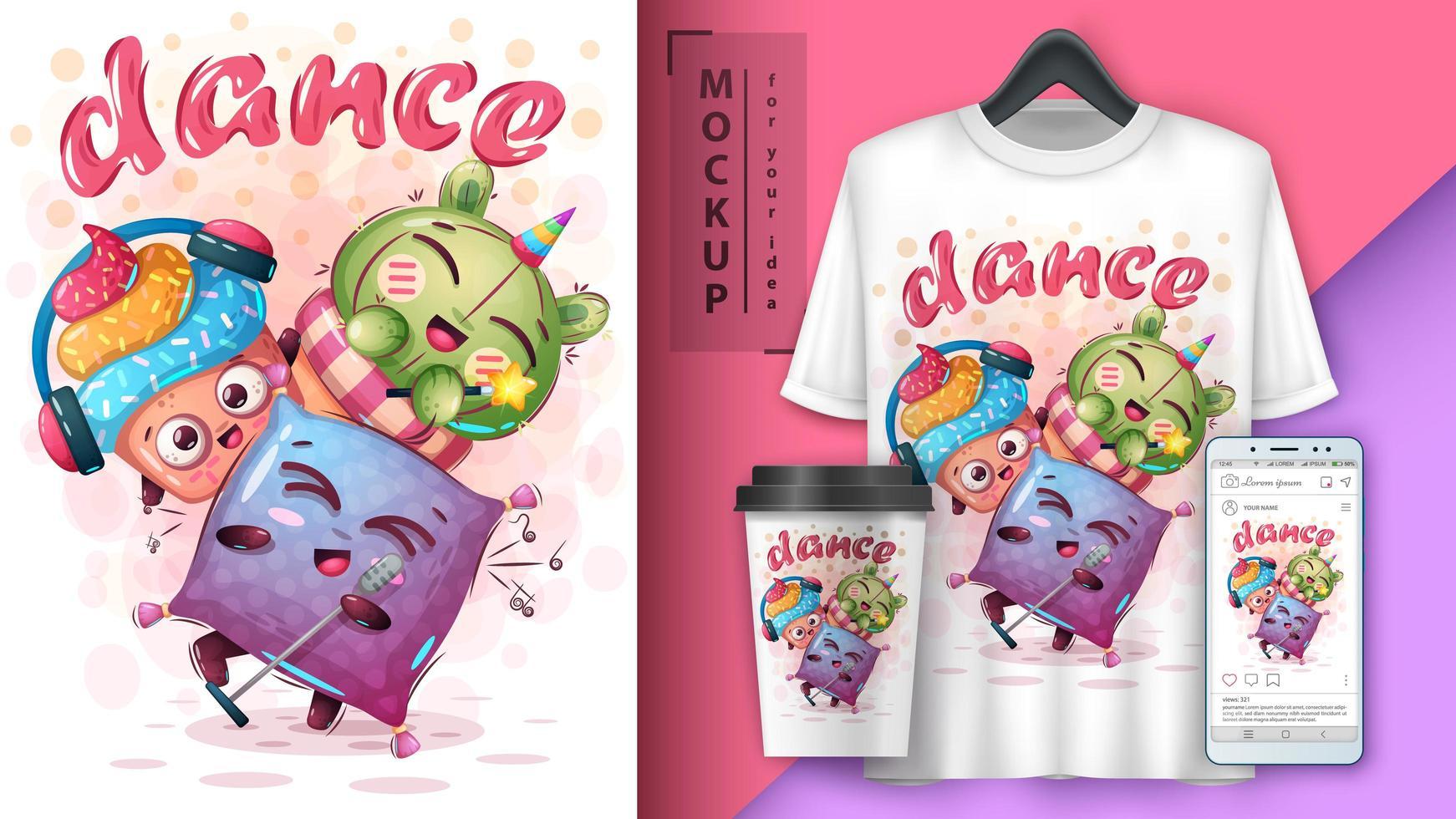cartone animato cuscino, cupcake e cactus danza poster vettore