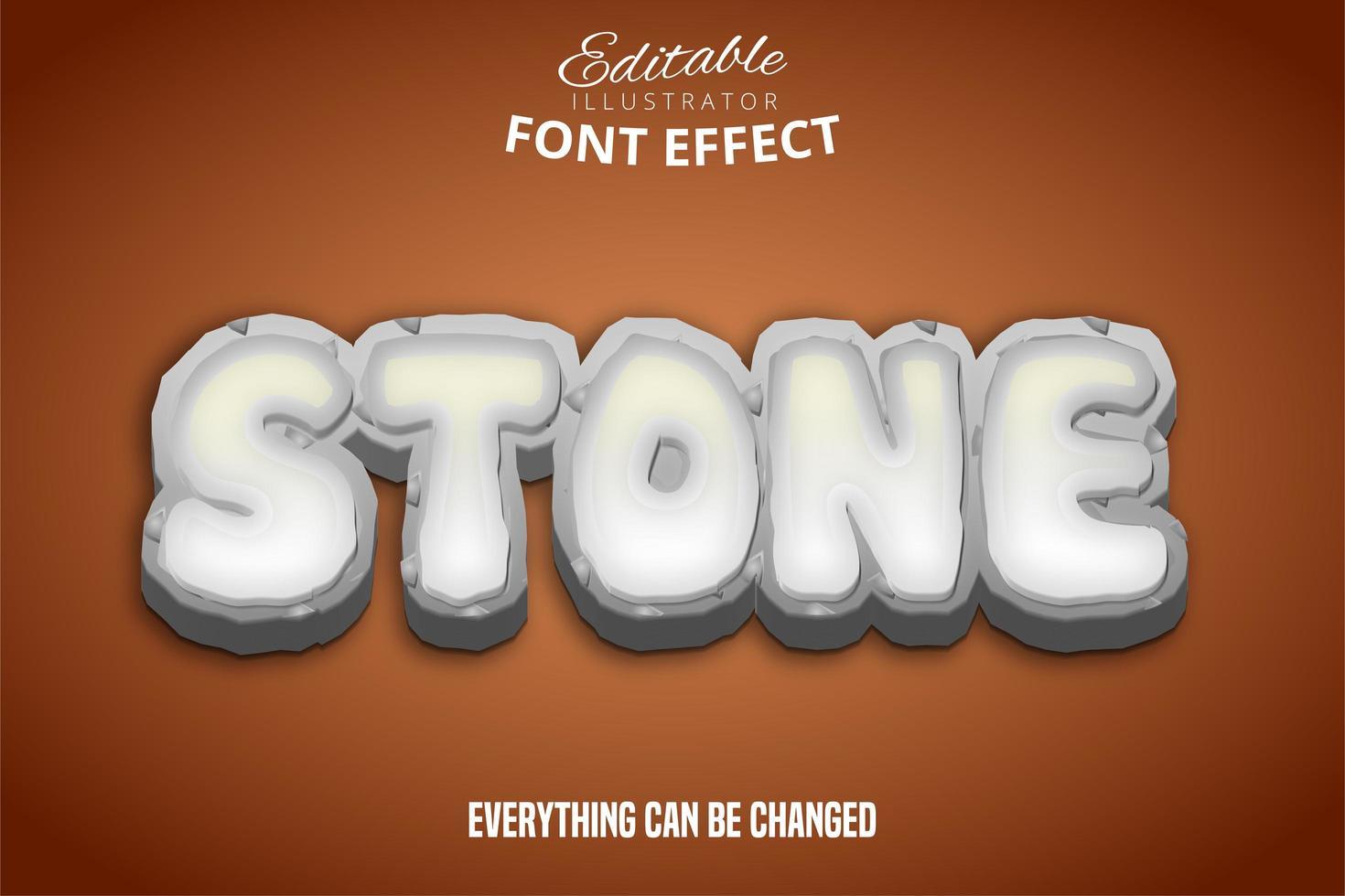 effetto carattere modificabile del testo in pietra vettore