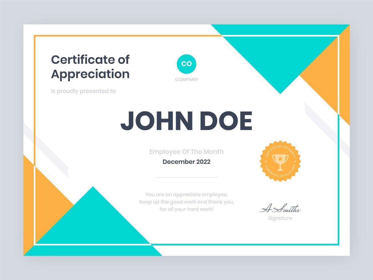 certificato di tendenza del modello di apprezzamento vettore