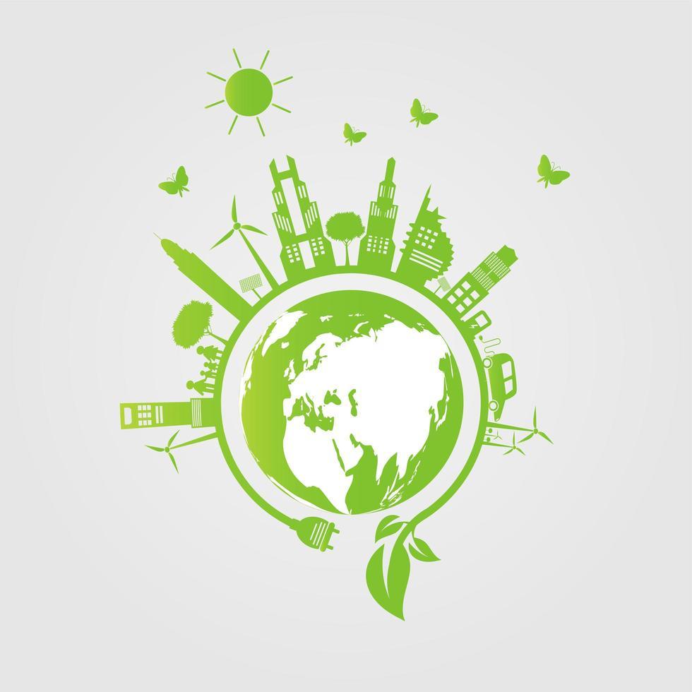 città verde intorno al concetto di ecologia del globo vettore
