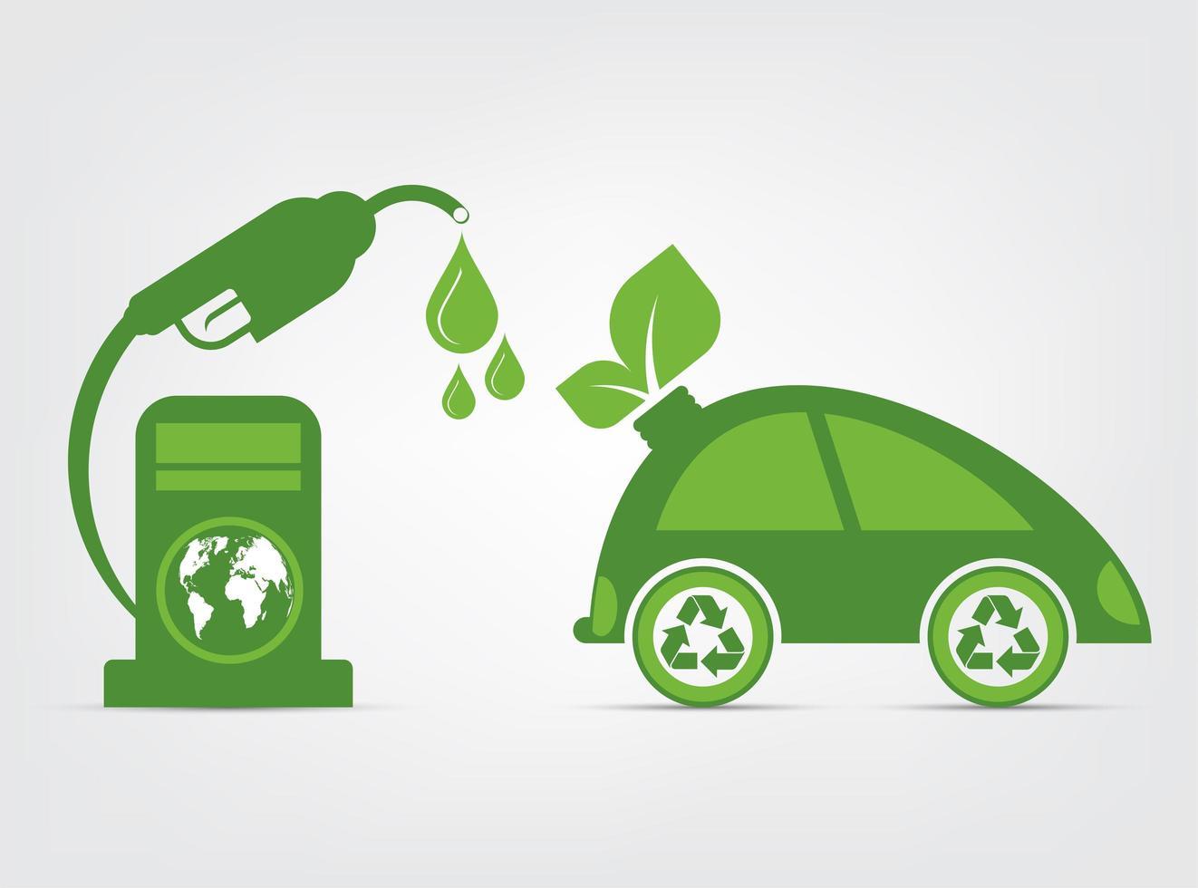 simbolo dell'automobile con il concetto di ecologia delle foglie verdi vettore