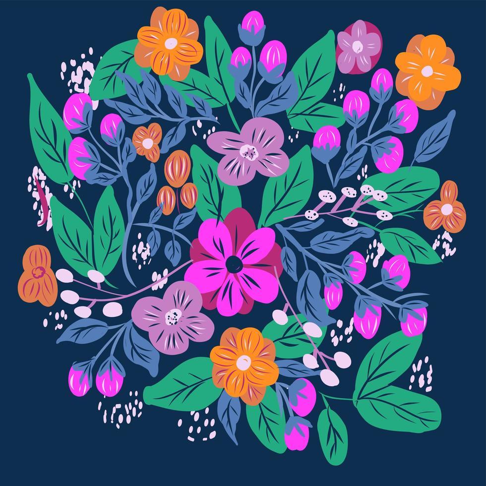 motivo floreale ditsy con fiori colorati luminosi vettore