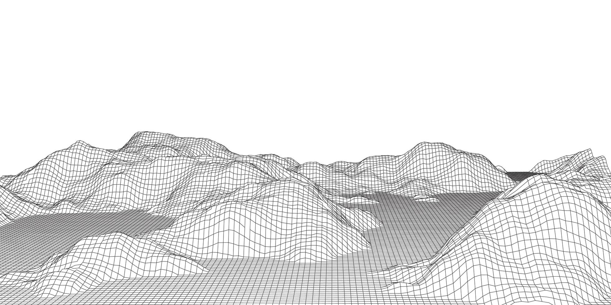 terreno wireframe in bianco e nero vettore