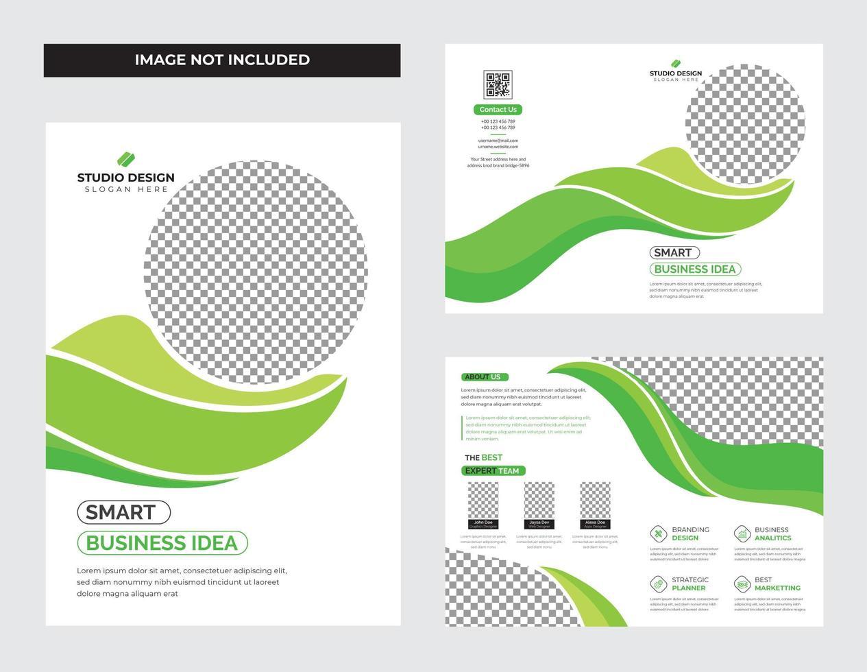 sfumature di verde brochure pieghevole e volantino vettore