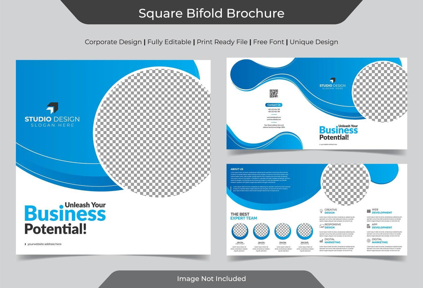 modello di brochure pieghevole quadrato aziendale vettore