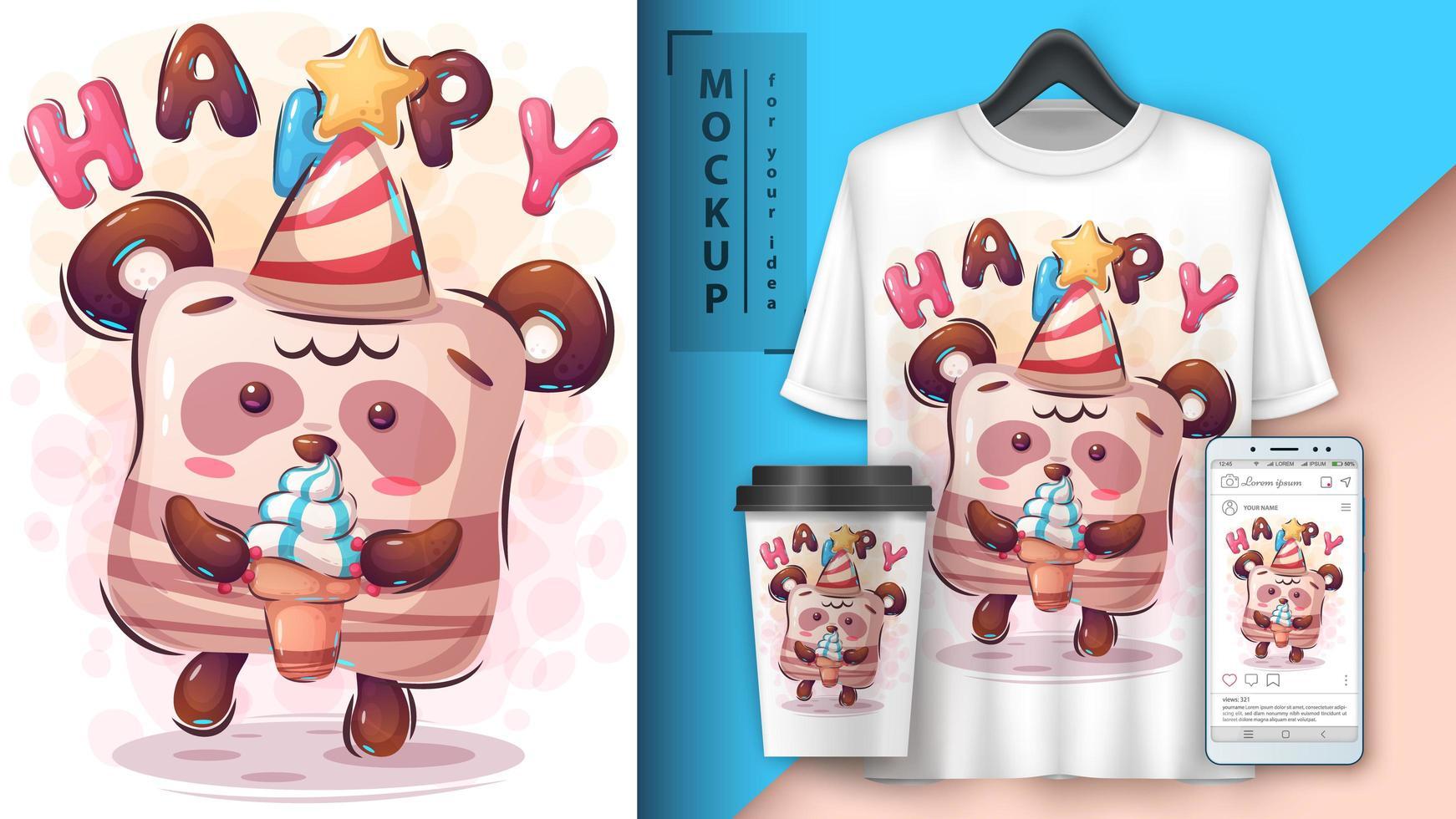 buon compleanno con poster di panda vettore