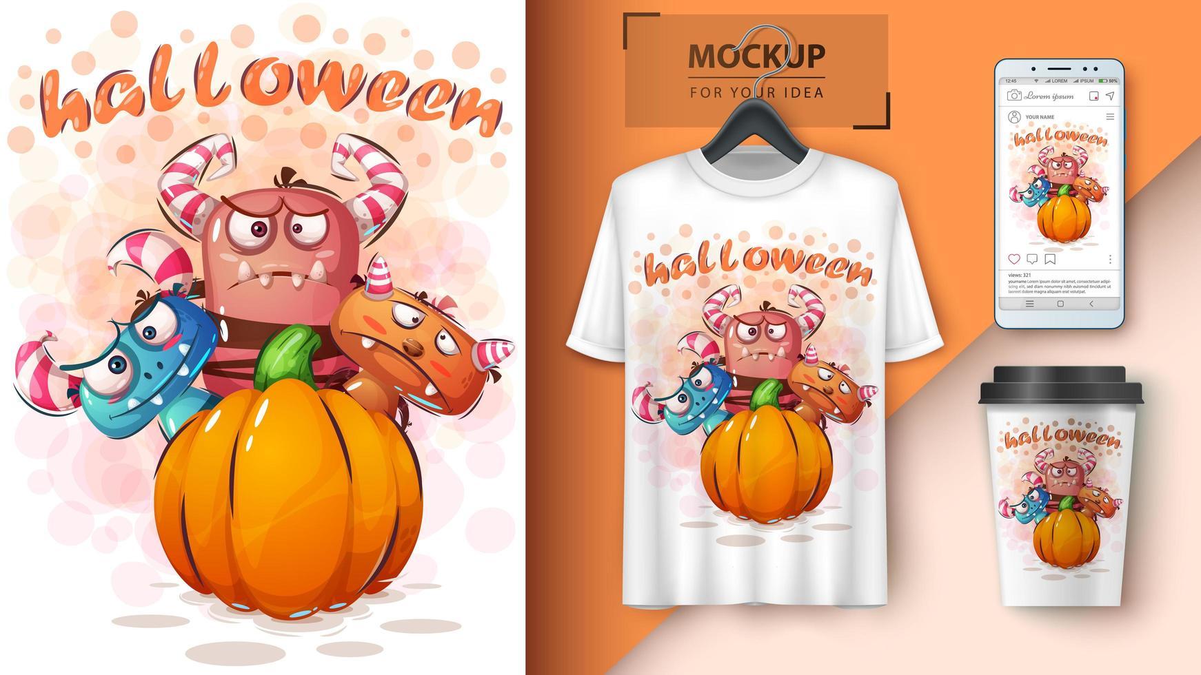 manifesto della zucca del mostro di Halloween vettore