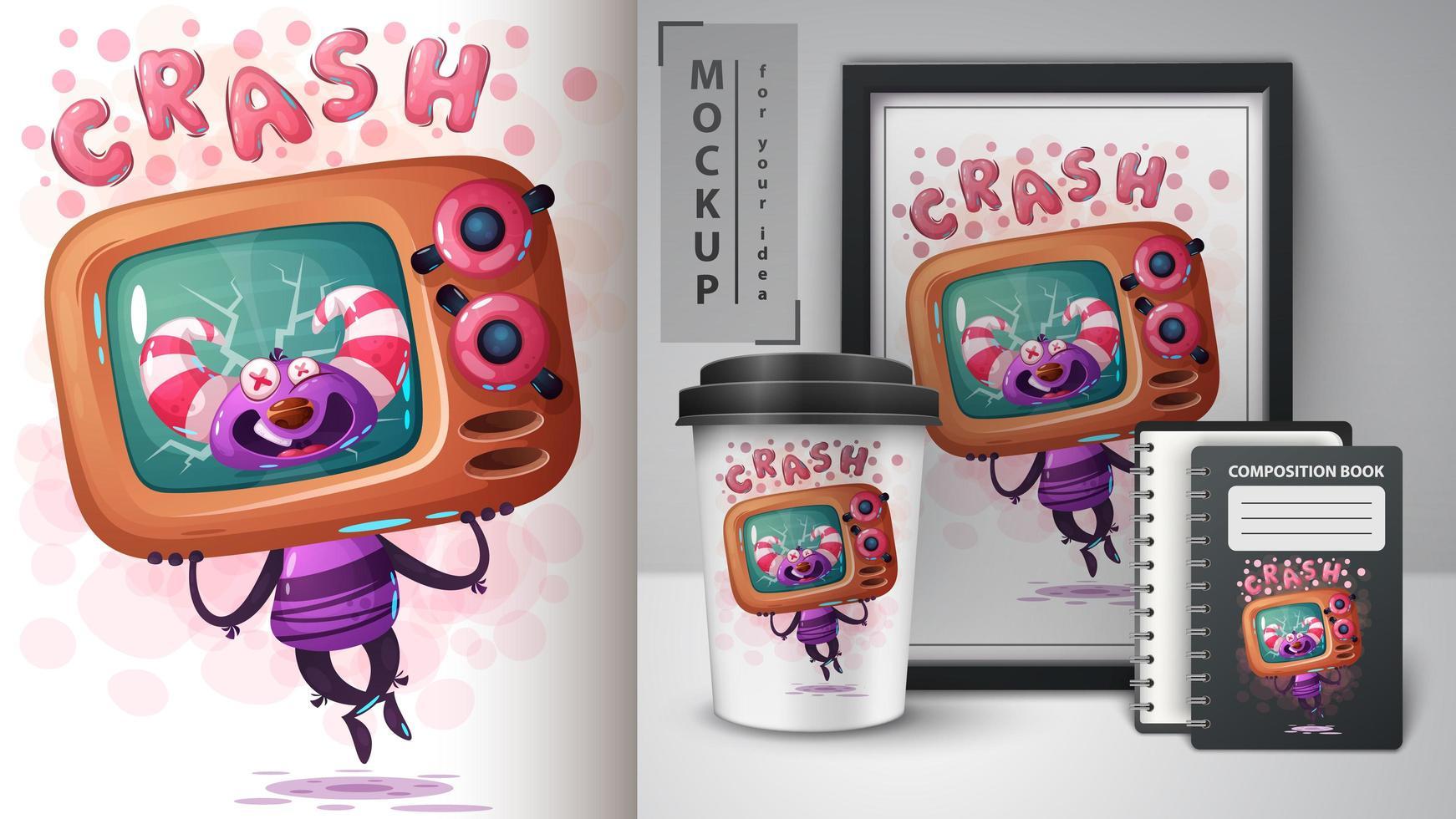 poster di crash monster tv vettore