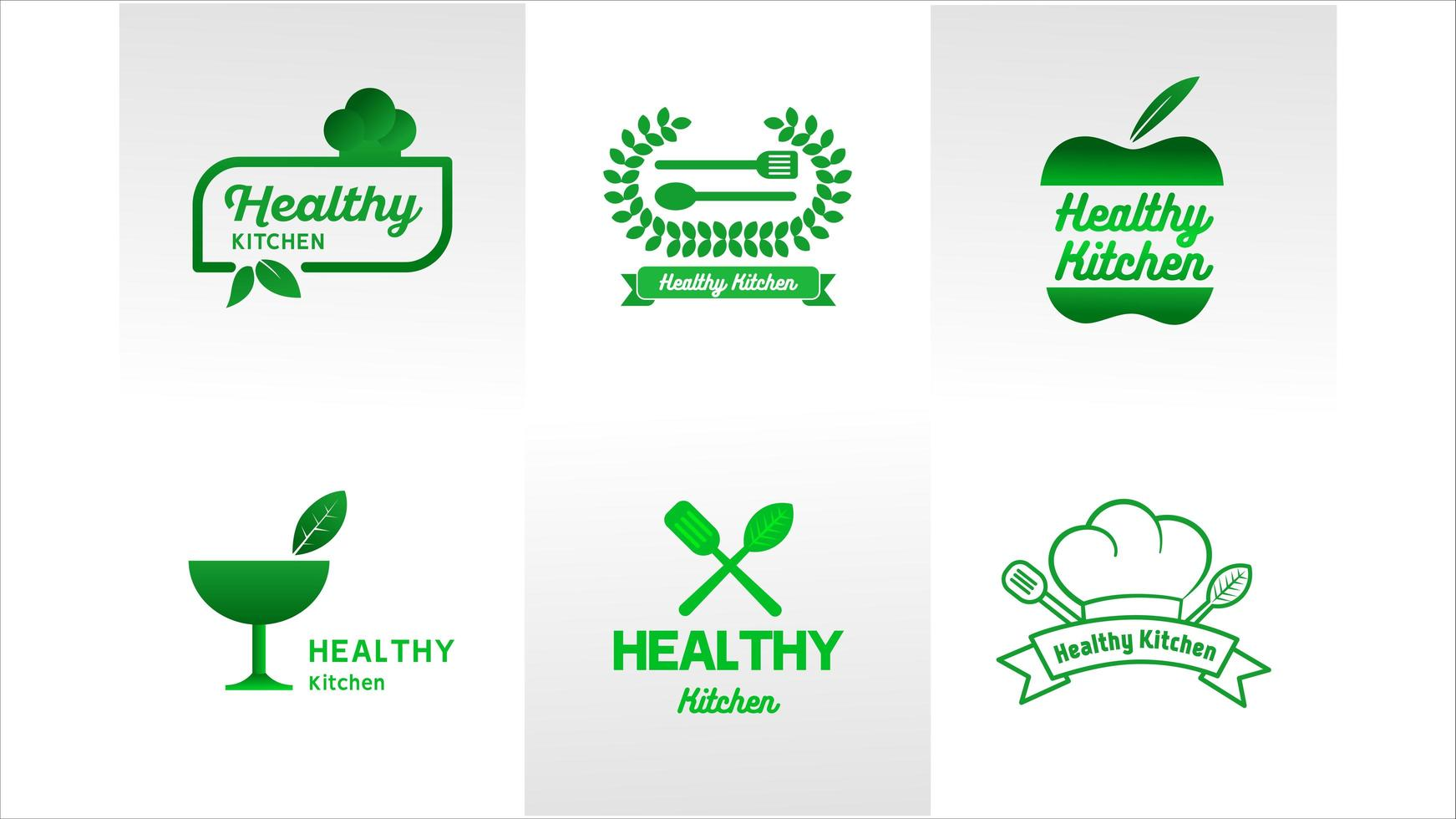 set logo verde cucina salute vettore