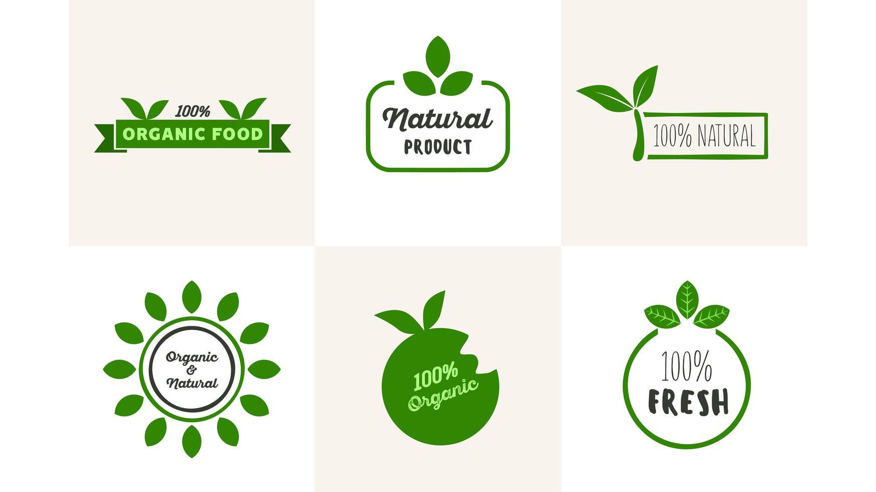 insieme di marchio di alimenti naturali biologici freschi vettore