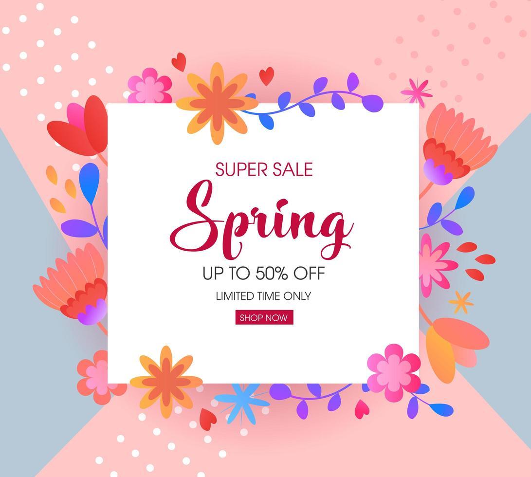 banner di vendita floreale primavera vettore