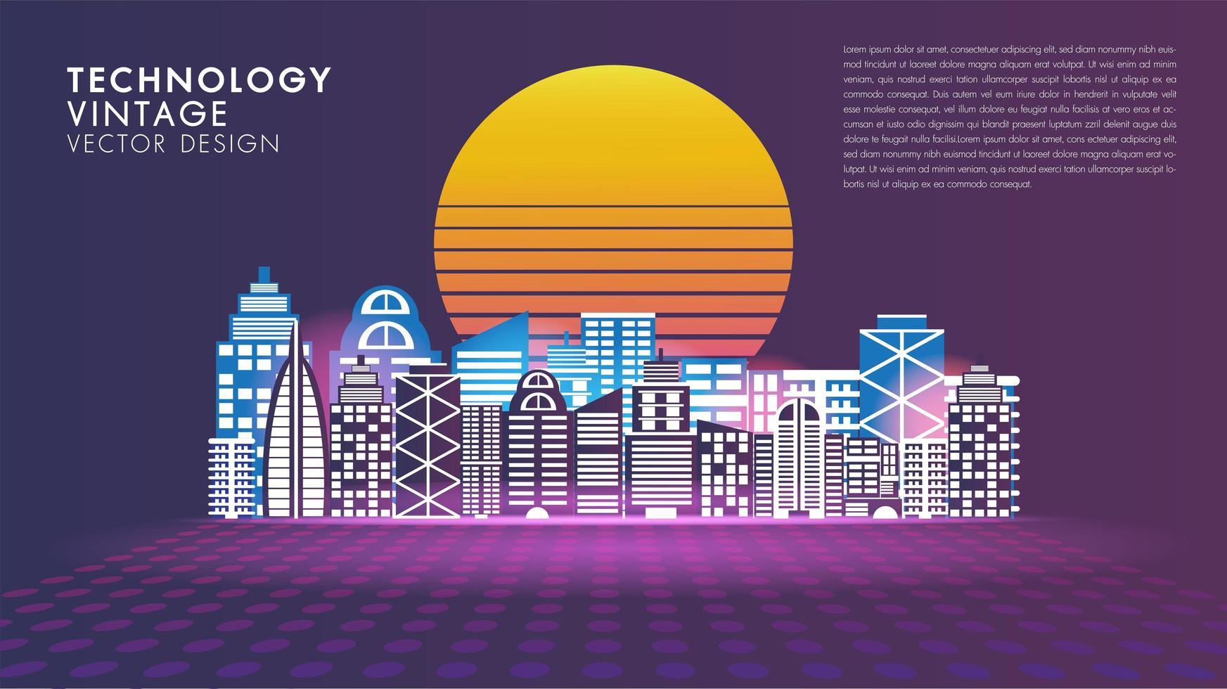 poster di smart city di innovazione sociale stile vintage vettore