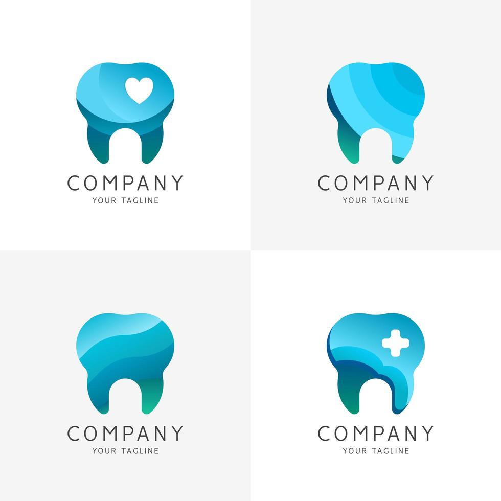 set logo clinica odontoiatrica vettore