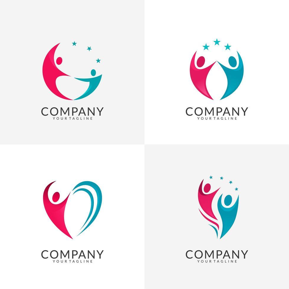 raccolta di logo di cura della comunità vettore