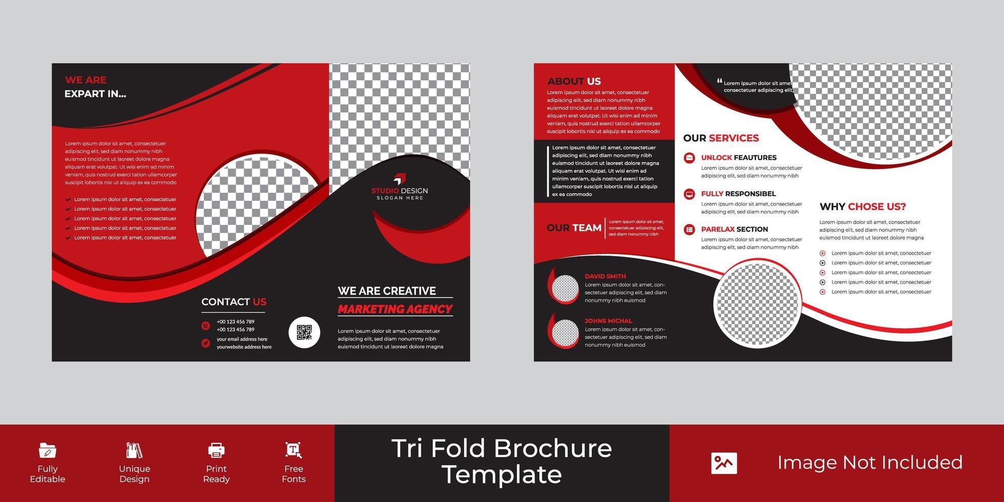 colore rosso a tre ante design aziendale modello aziendale vettore