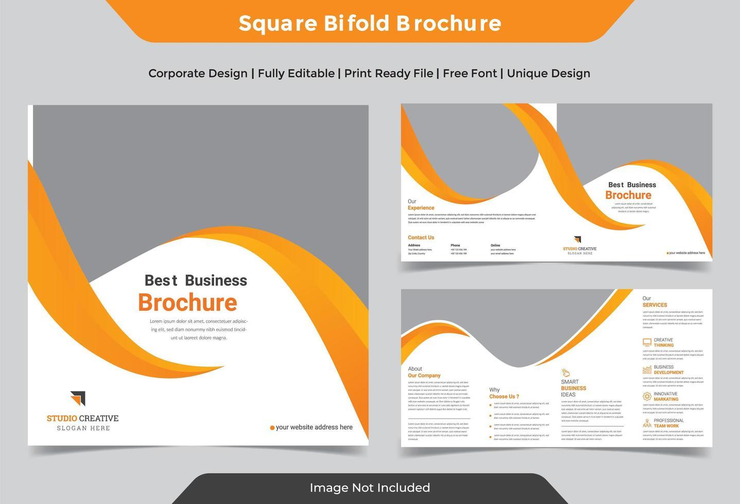 design brochure pieghevole quadrato giallo business aziendale vettore