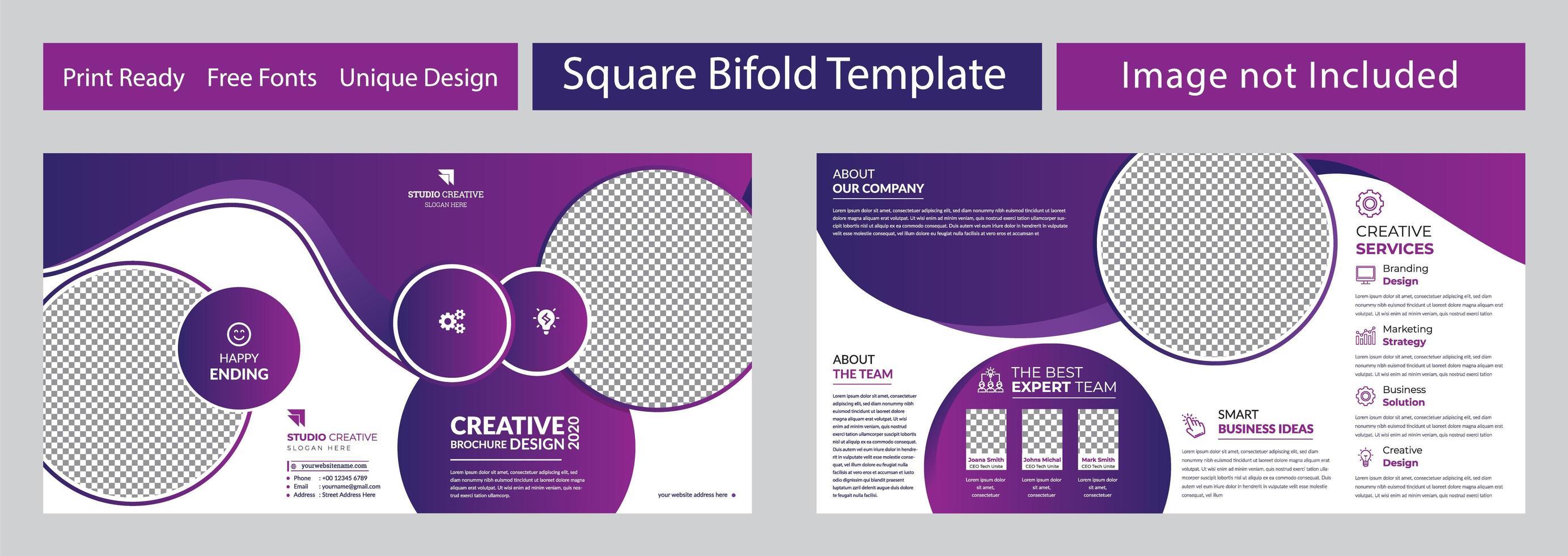 design brochure viola quadrato geometrico aziendale pieghevole vettore