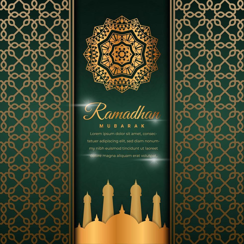banner ramadan ornane verde vettore
