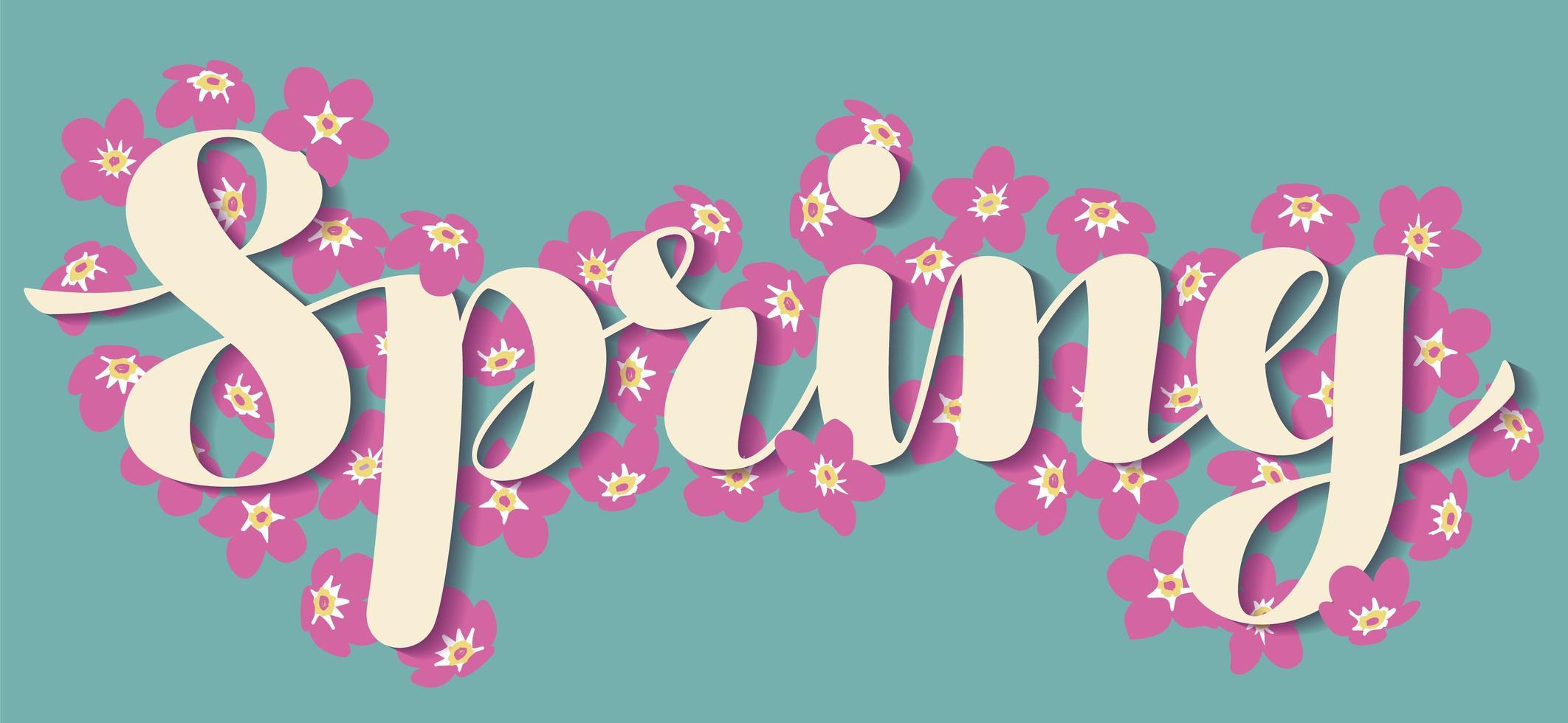 scritte di primavera con fiori vettore