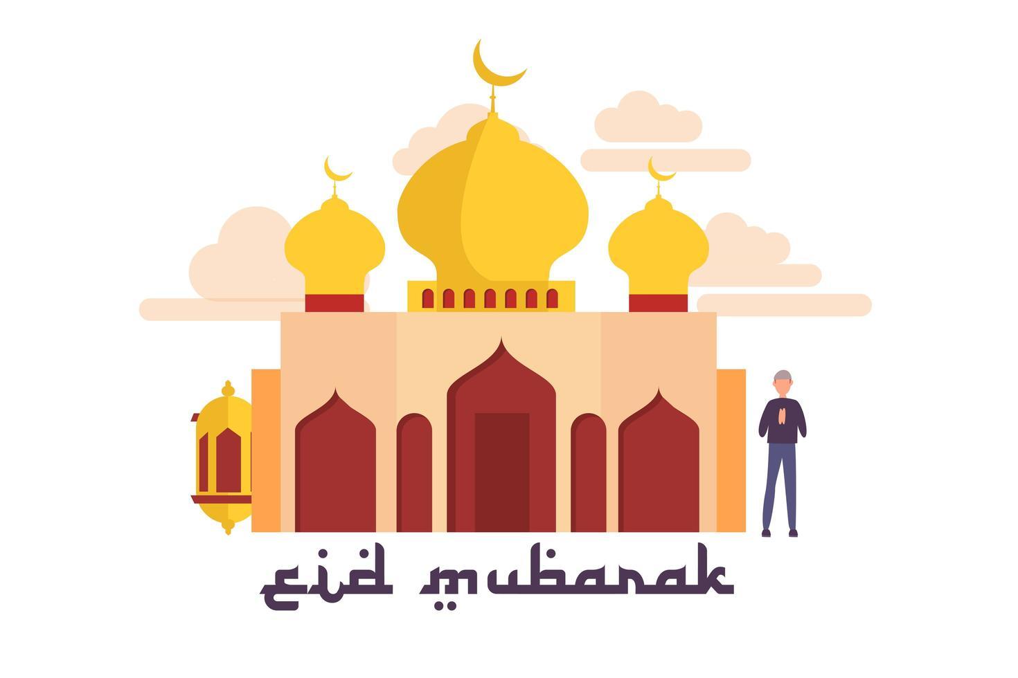 felice design ramadan con persona accanto alla moschea vettore