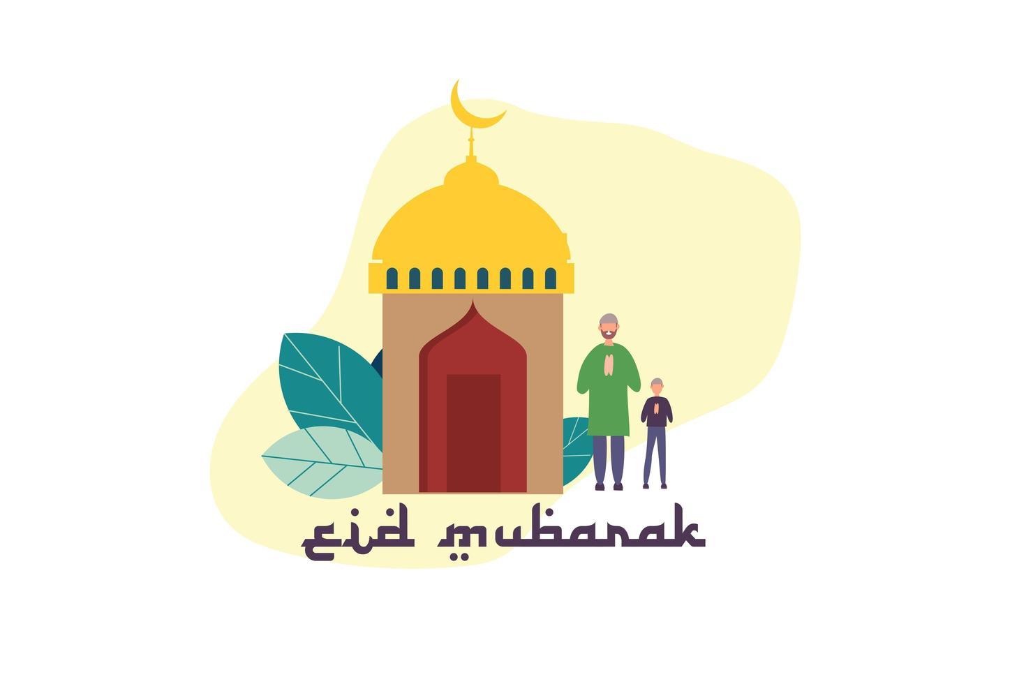 eid mubarak poster con minuscole persone vettore