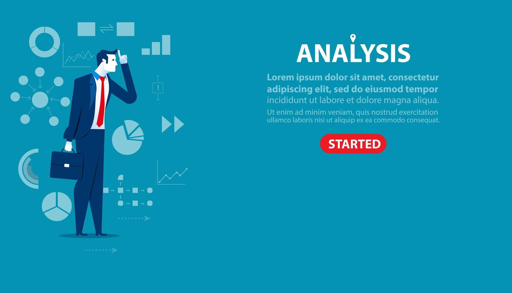 landing page di analisi uomo d'affari vettore