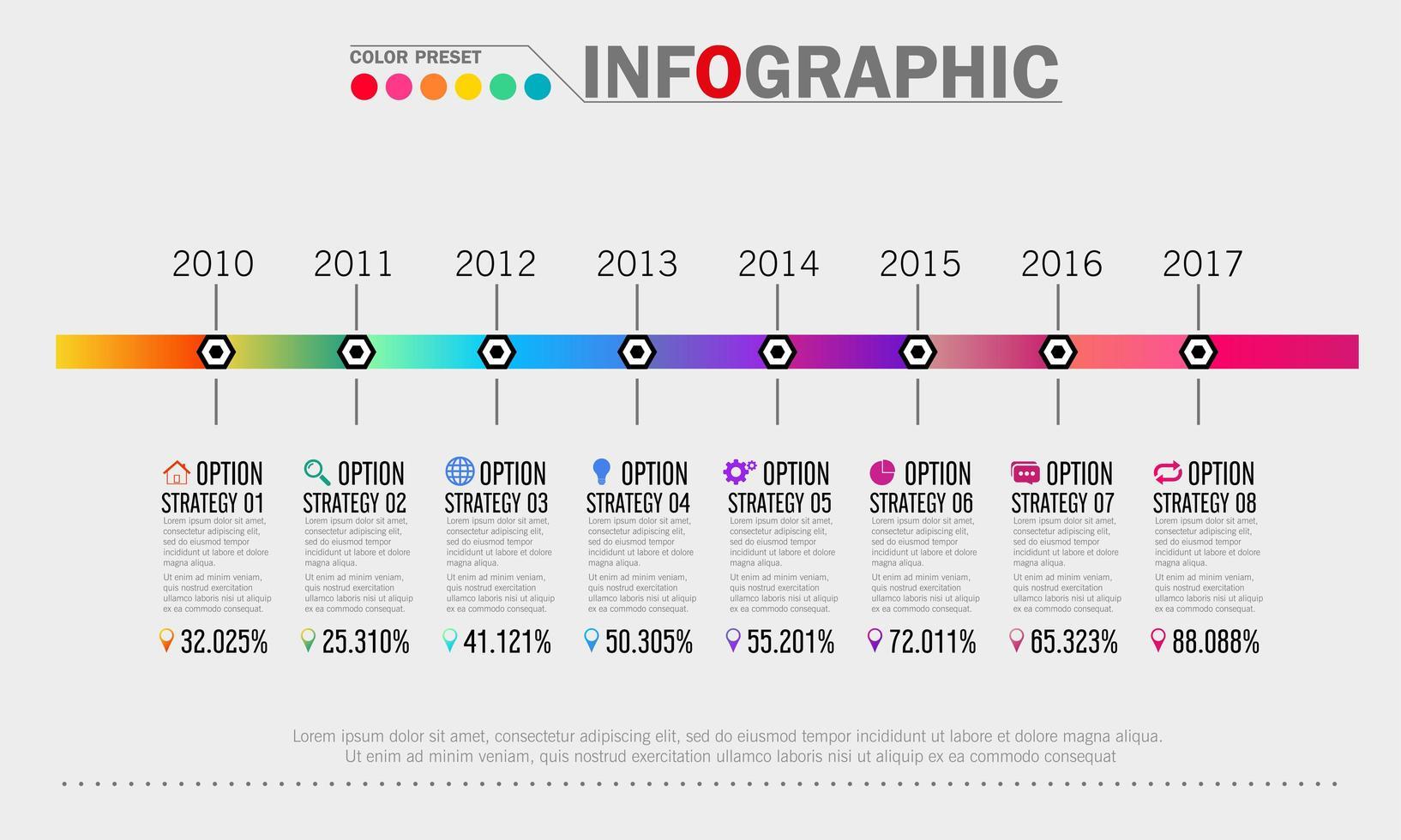 modello di infografica timeline di affari vettore