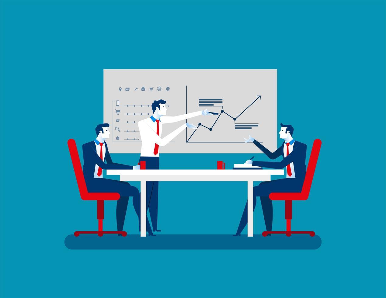 uomini d'affari alla riunione di strategia vettore