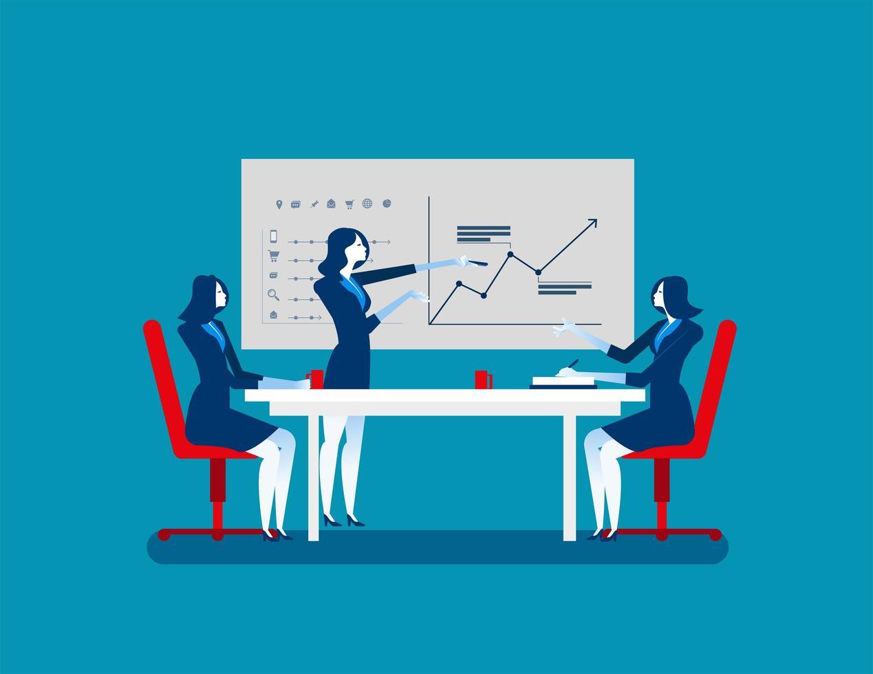 donne d'affari alla riunione di strategia vettore
