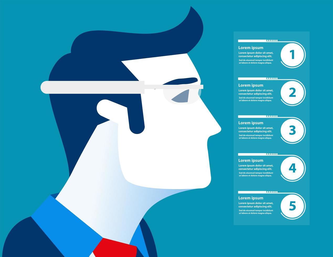 uomo d'affari con gli occhiali futuristici infografica vettore
