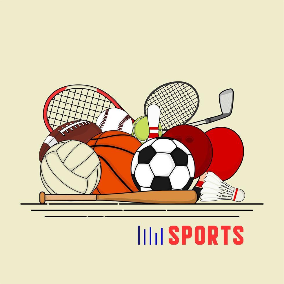 set di palline colorate e articoli da gioco vettore