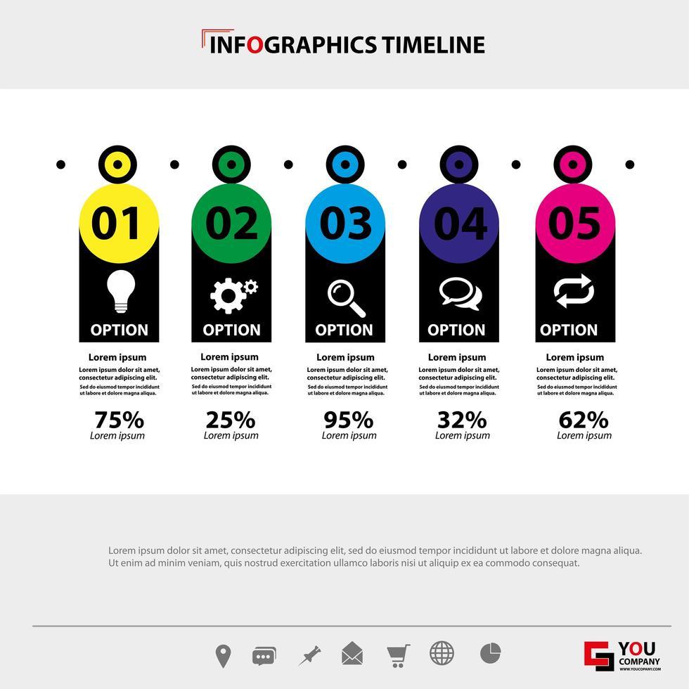 cronologia orizzontale di infographics di affari vettore
