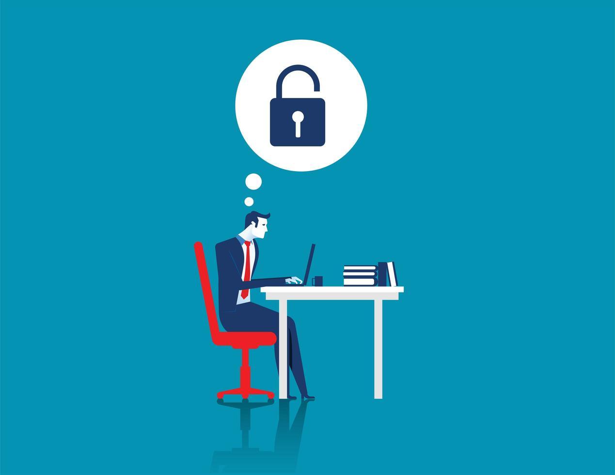 uomo d'affari hacking laptop vettore