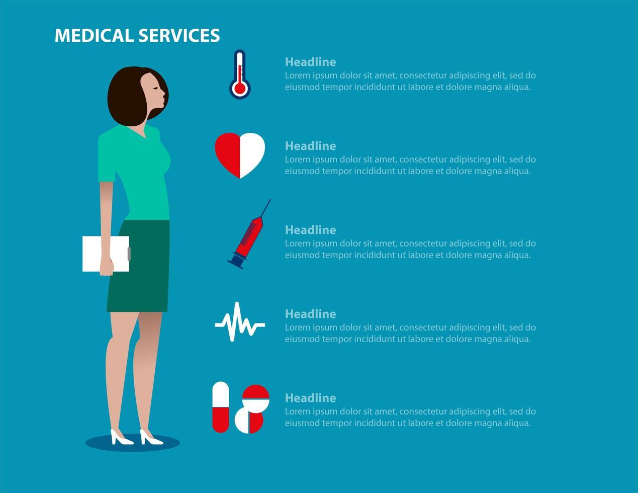 landing page di servizi medici con lavoratrice vettore