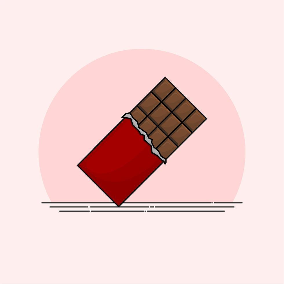barretta di cioccolato isolata vettore