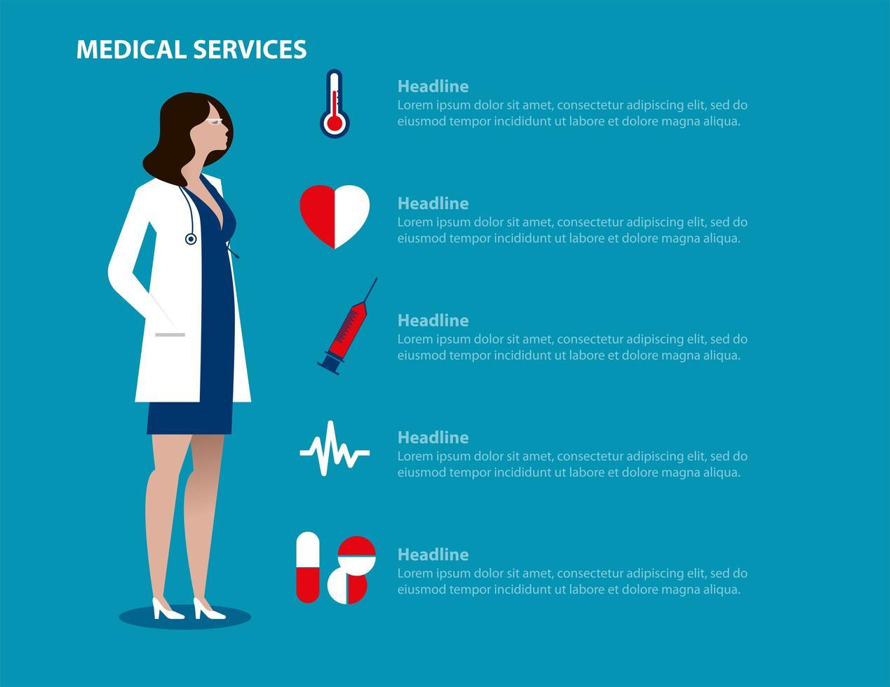 landing page di servizi medici dottoressa vettore