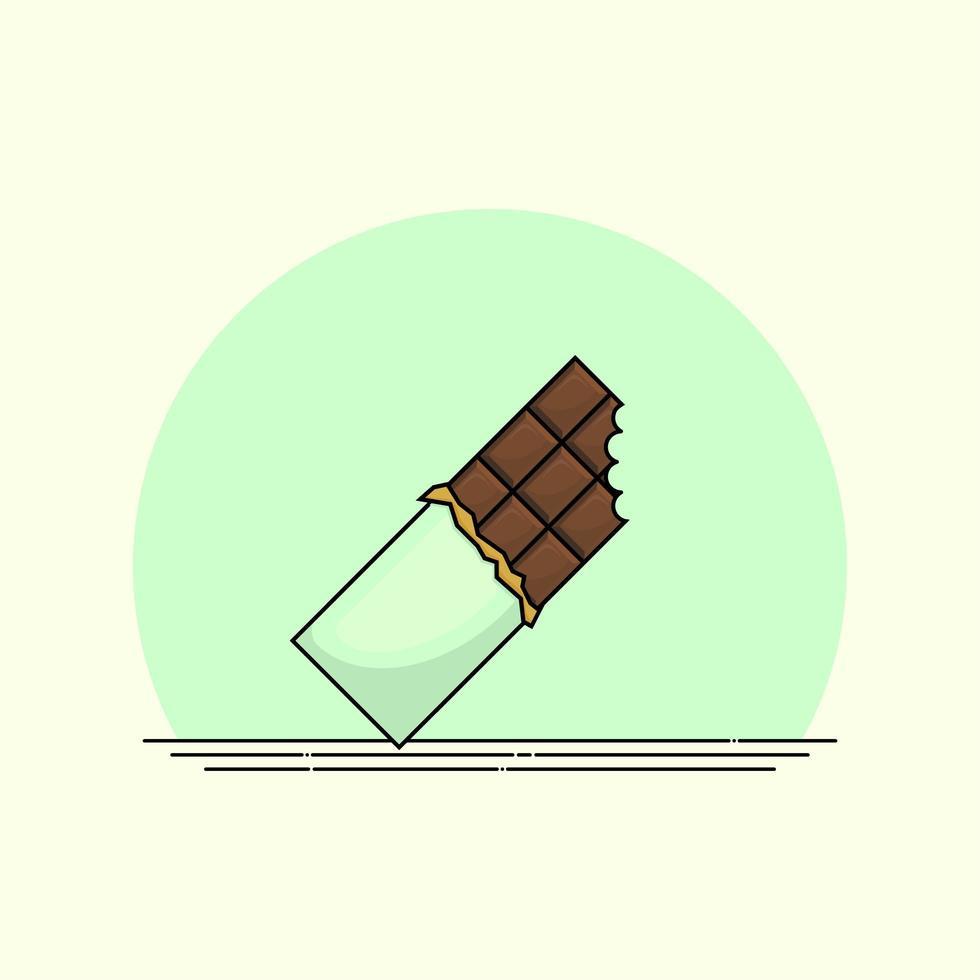 barretta di cioccolato in involucro verde vettore