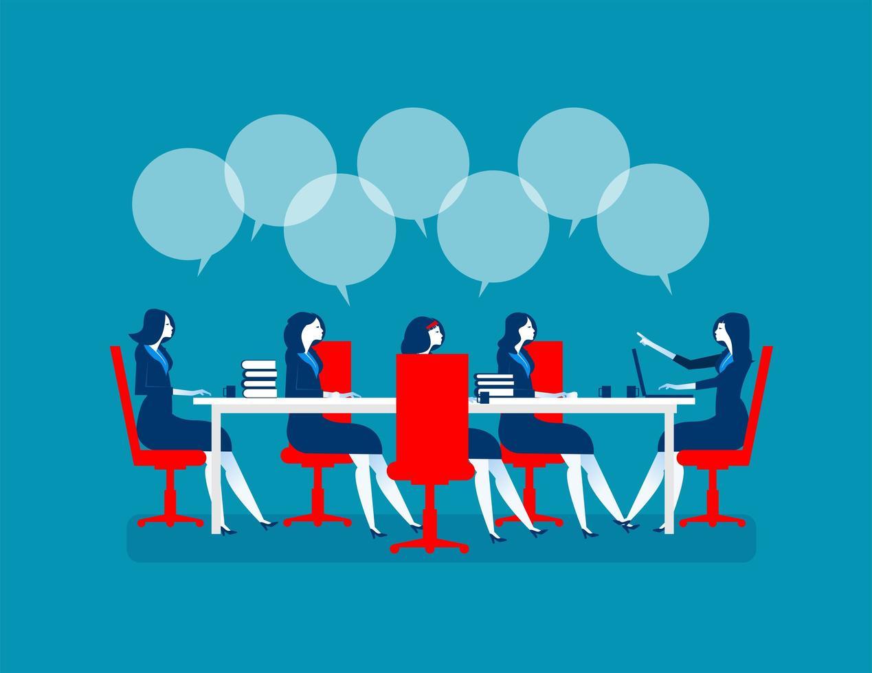 donne d'affari che si incontrano per affari di marketing vettore