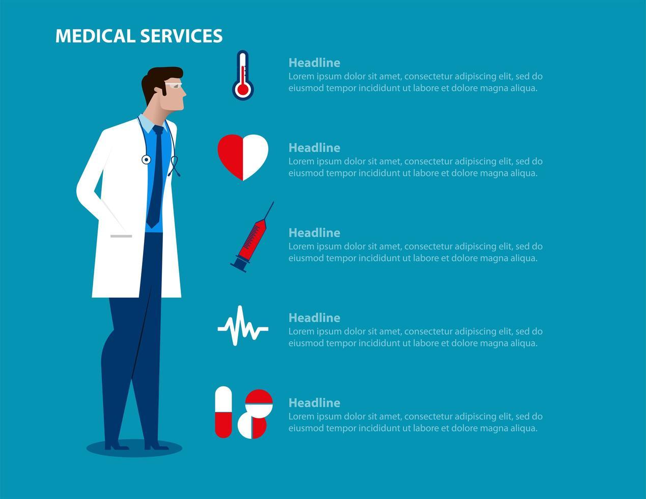 landing page di servizi medici uomo medico vettore