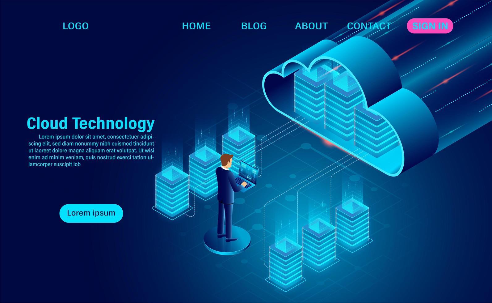 concetto di tecnologia di computazione della nuvola con l'uomo sul computer portatile vettore