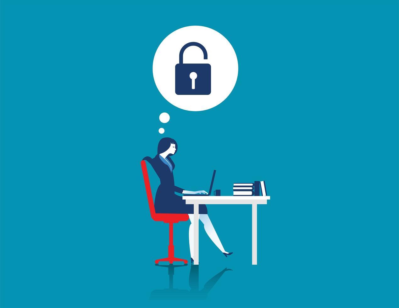 imprenditrice hacking laptop vettore