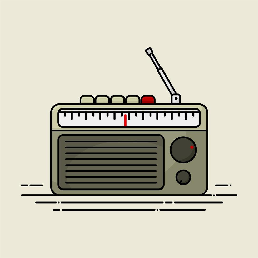 radio a transistor vintage grigia vettore