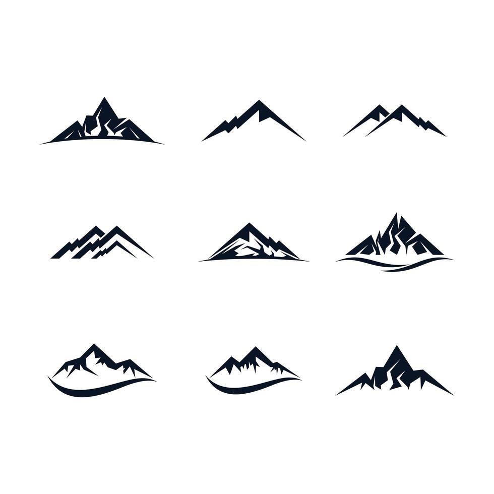 set di icone di montagna nera vettore