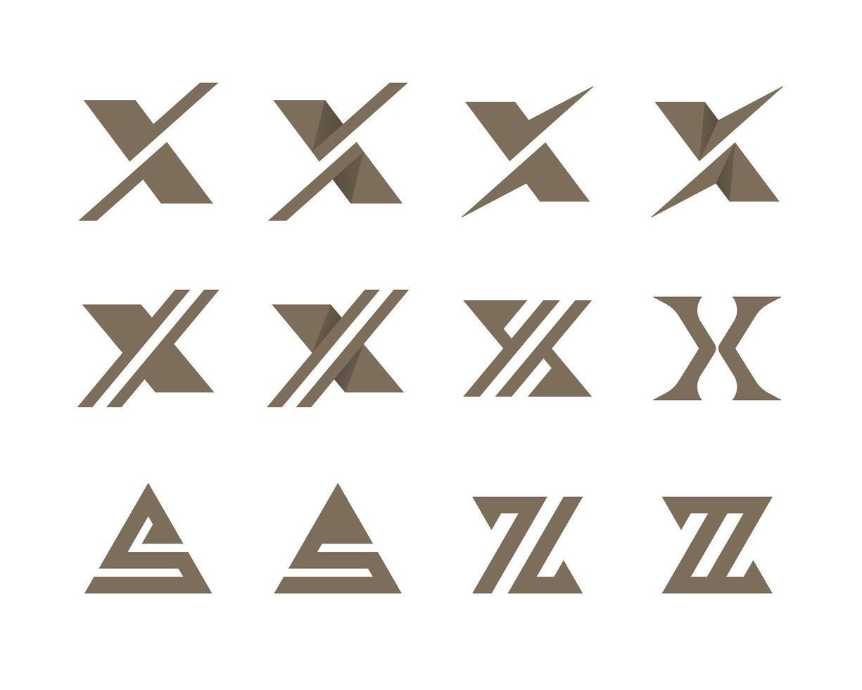 insieme di logo tipografico lettere xs e z vettore