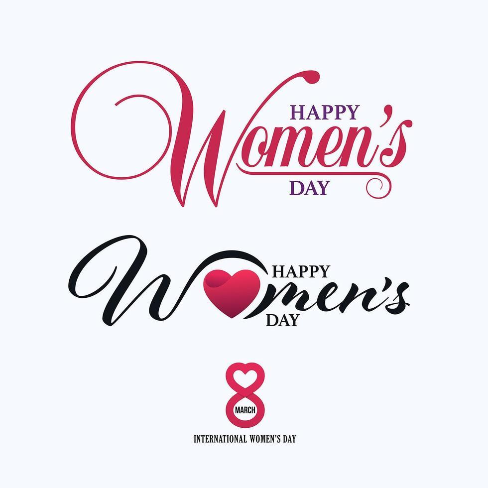 8 marzo modelli calligrafici di lettere per la festa della donna felice vettore