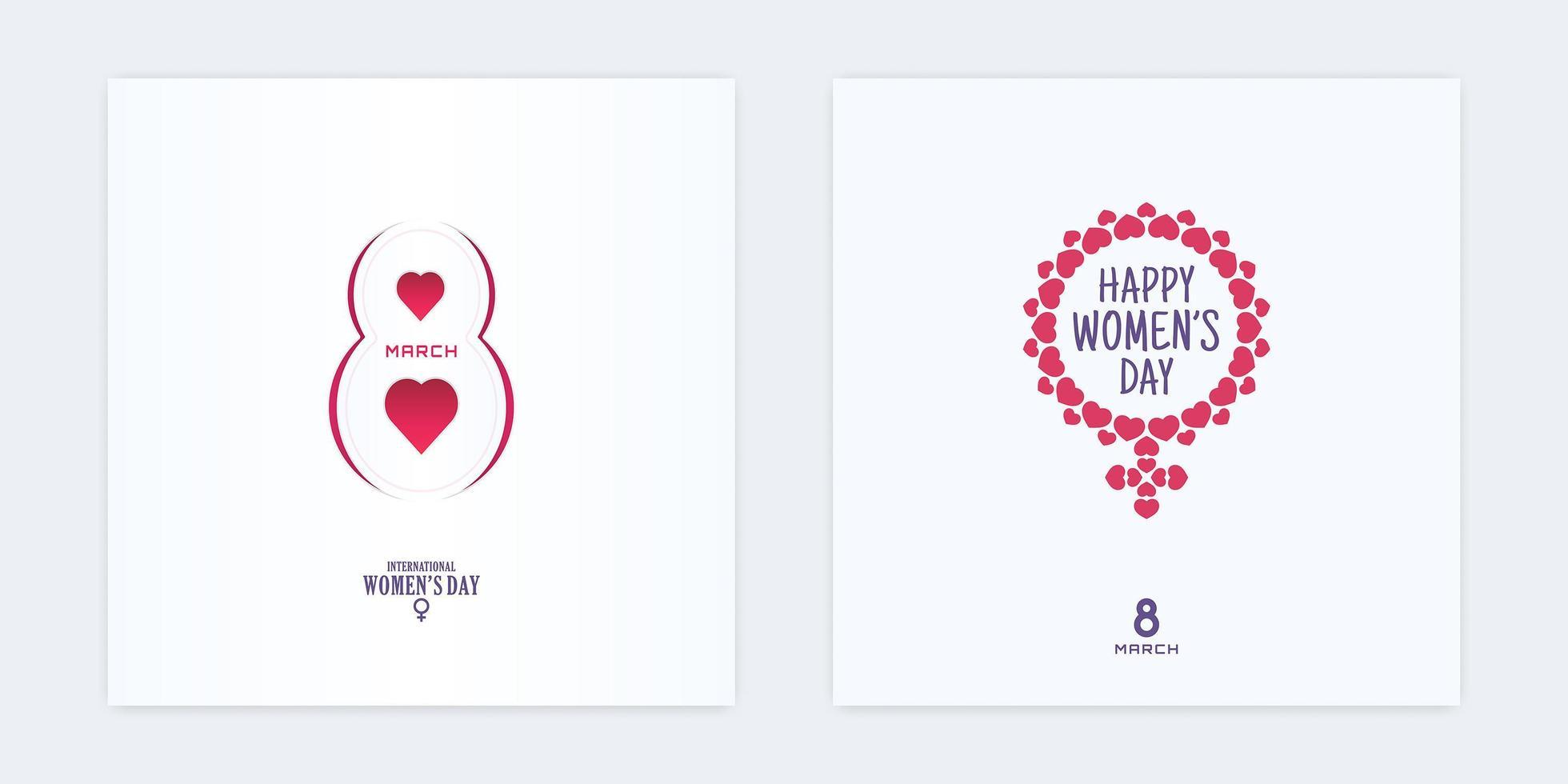 8 marzo carta tagliata banner giorno delle donne cornice a forma di cuore vettore