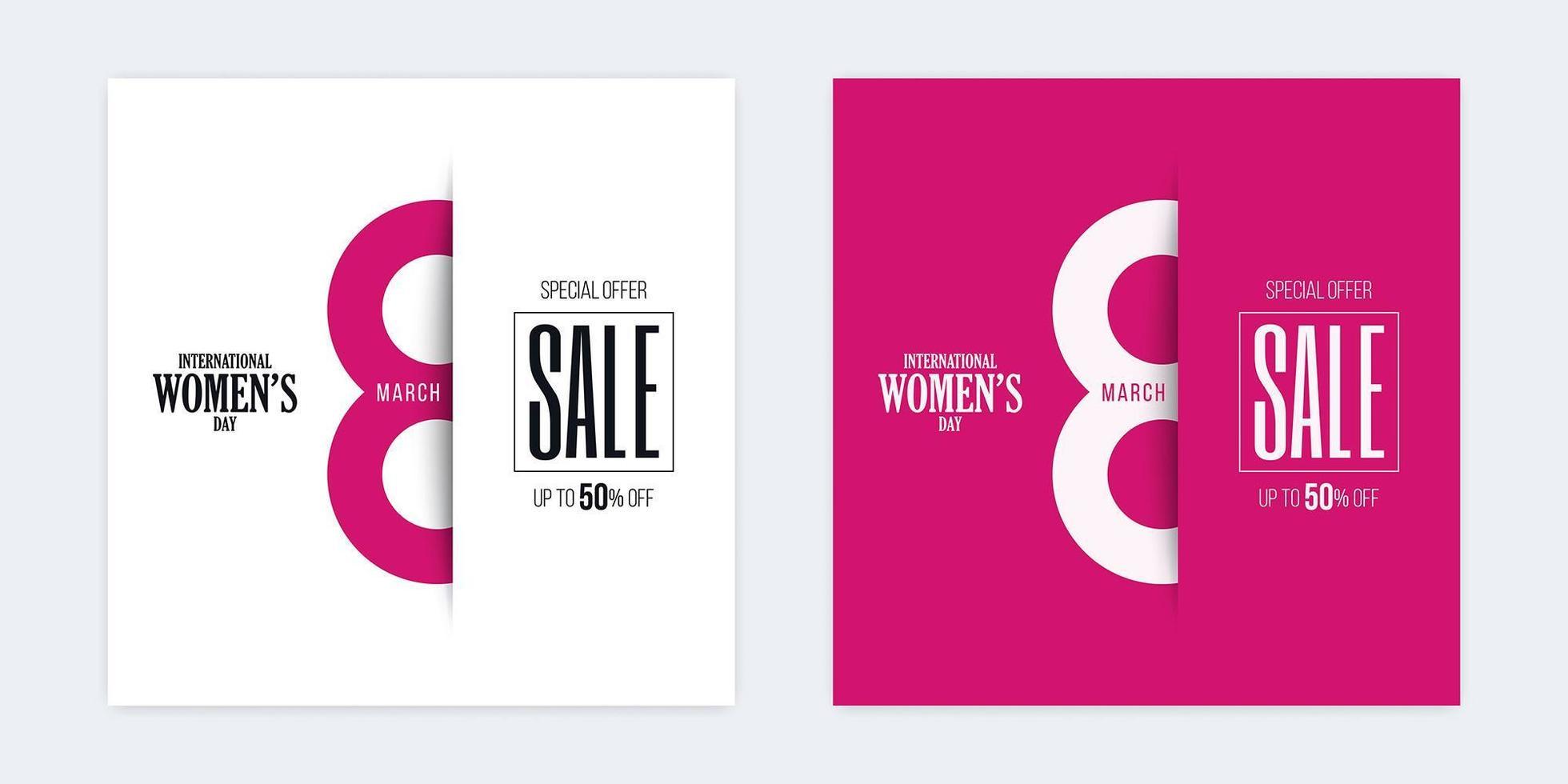 bandiere del taglio della carta di sconto di vendita di giorno della donna internazionale vettore